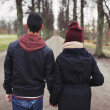 Teenage couple walking in park holding hands — Stock Photo #40690423