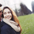 Cute young couple sharing beautiful time on park — Stock Photo
