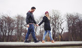 Cute young couple out for a walk together — Stock Photo