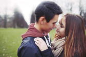 Teenage couple sharing a romantic moment — Stock Photo