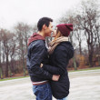 Teenage couple about to have a passionate kiss — Stock Photo
