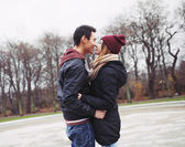 Teenage couple about to have a passionate kiss — Foto Stock
