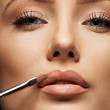 Close up crop of female face applying make up — Stock Photo #42329853
