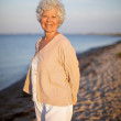 Elder woman standing alone at the beach — Stock Photo