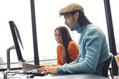 Students researching information for academic project — Stock Photo