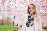 Beautiful woman at spring park — Stock Photo