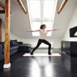 Healthy woman exercising in living room — Stock Photo #50286271