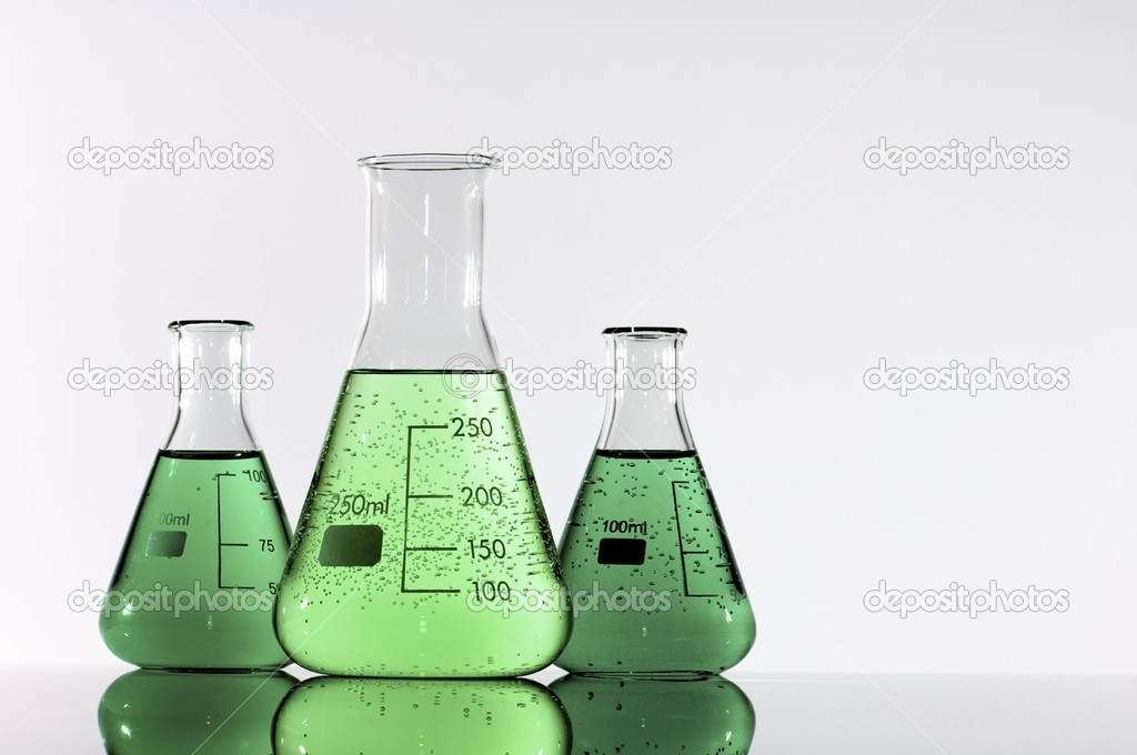Three beakers with green and yellow liquid  Stock Photo #17685339
