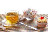 Green tea and sweetness — Stock Photo
