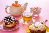 Tea and various sweet dessert — Stock Photo