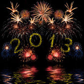 Colorful 2013 new year fireworks — Stockfoto