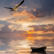 Landscape with boat at the ocean — Stock Photo