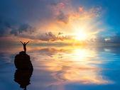 En man på lonely rock i havet — Stockfoto