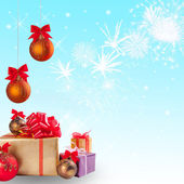 Christmas gift and balls with snow 2 — Stock Photo