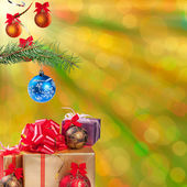 Christmas background, gift and balls — Stok fotoğraf