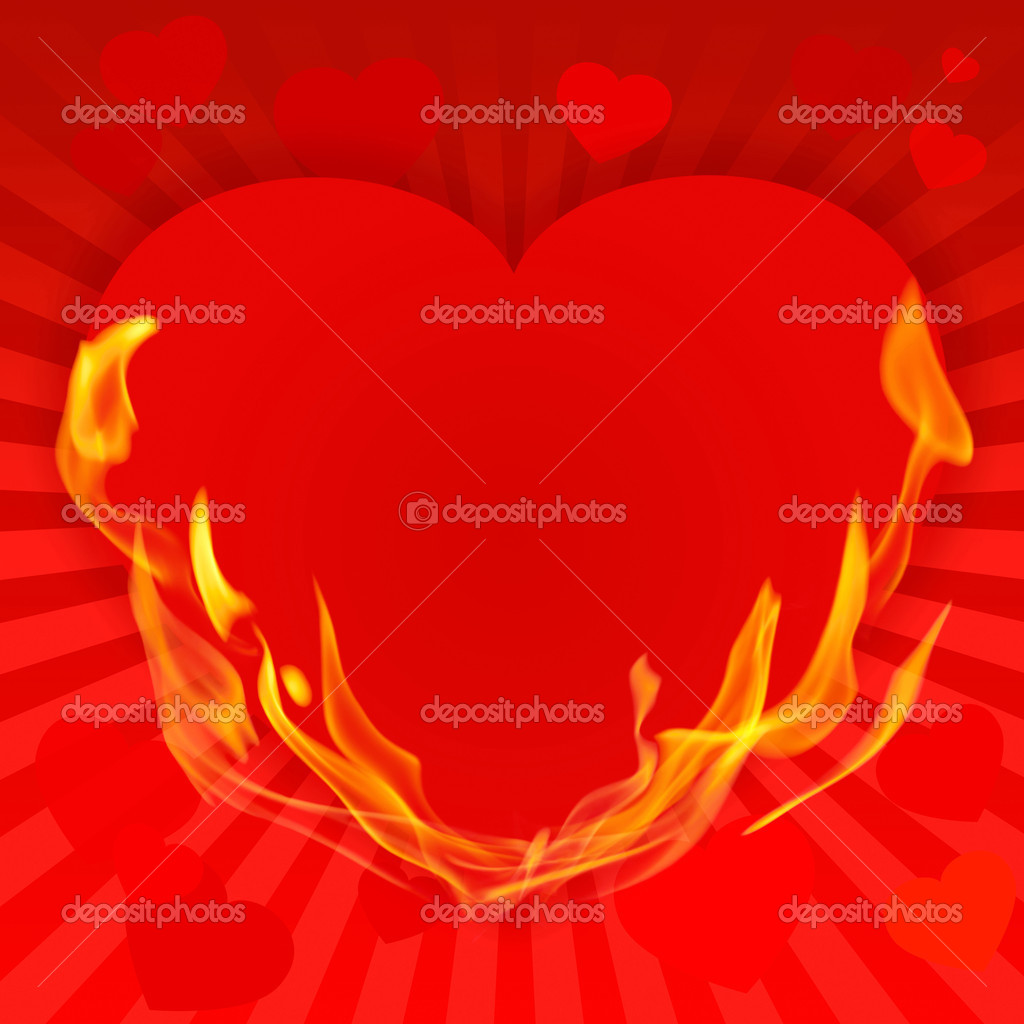 St. Valentine 's Day red background with heart on fire and place for text — Stock Photo #16628295