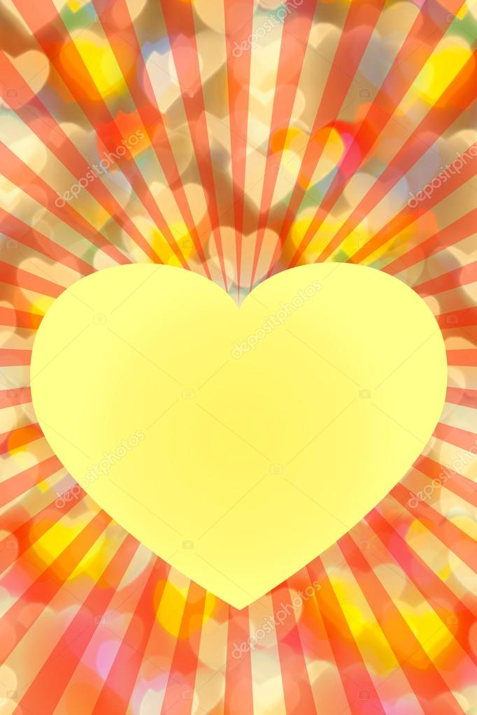 St. Valentine 's Day golden background with heart and place for text — Stock Photo #16980477