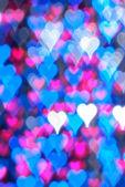 Blue heart bokeh background — Stock Photo