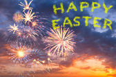 Happy easter fireworks in the sky — Stock Photo
