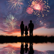 Family looks beautiful fireworks — Stock Photo