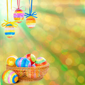 Easter background with eggs — Stock Photo