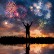 A man looks holiday fireworks — Stock Photo #22435907