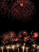 Fireworks in the dark sky — 图库照片