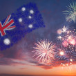 Oliday fireworks with national flag of Australia — Stock Photo #26641881