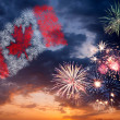 Holiday fireworks with national flag of Canada — Stock Photo #26641897