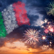 Holiday fireworks with national flag of Italy — Stock Photo