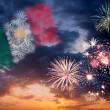 Holiday fireworks with national flag of Mexico — Stock Photo #26642001