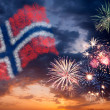 Holiday fireworks with national flag of Norway — Stock Photo