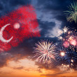 Holiday fireworks with national flag of Turkey — Stock Photo