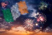 Holiday fireworks with national flag of Ireland — Stock Photo