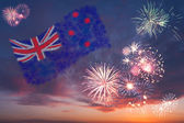 Holiday fireworks with national flag of New Zeland — Stockfoto