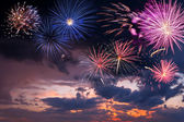 Holiday fireworks on the majestic sky — Stock Photo