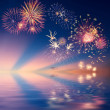 Fireworks with reflection — Stock Photo