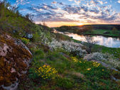 Spring sunset over river — Stock Photo
