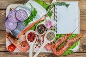 Fish filets and shrimps — Stock Photo