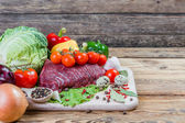 Raw meat, spices — Stock Photo