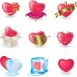 Valentine heart icon set — Stock Vector