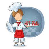 Chef holding plate with text Hot Sale — Stock Vector