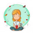 Girl listening to music from smartphone — Stock Vector #13331634