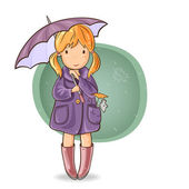 Girl under an umbrella — Stock Vector