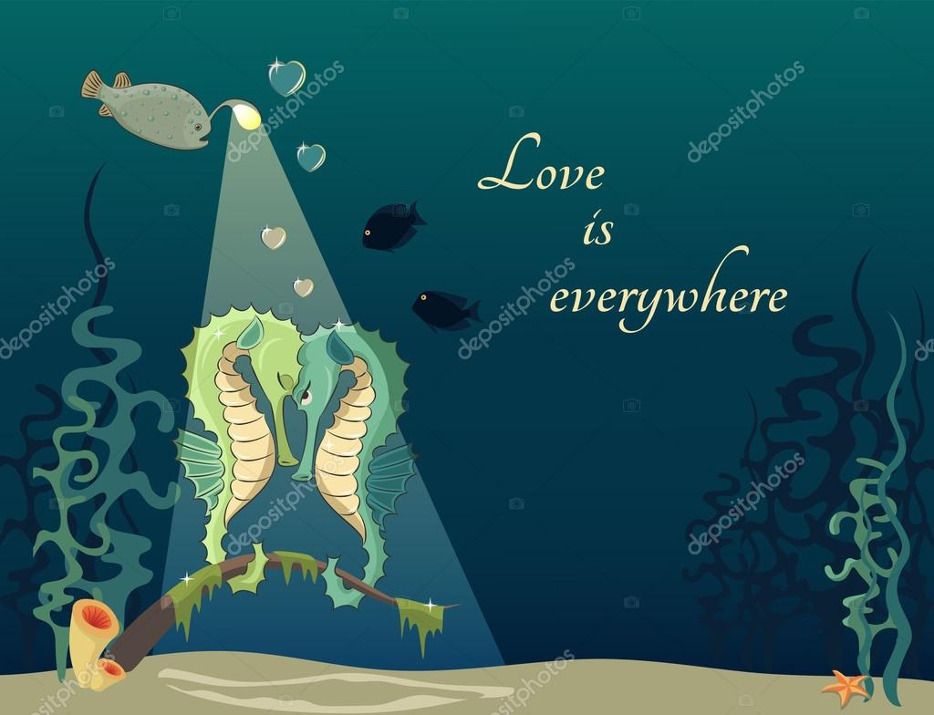 Cartoon illustration of underwater world with fishs and seahorses. Concept of love  Stock Vector #13621270