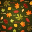 Dark green seamless pattern with autumn leaves - Векторная иллюстрация