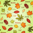 Light seamless pattern with autumn leaves - Stock Vector