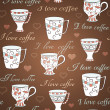 Vector seamless pattern with I love coffee — Stock Vector