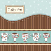 Vector background with coffee mugs — Stock Vector