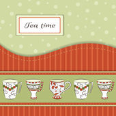Vector background with tea cups — Stock Vector